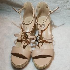 Bebe Lavina Wedge Nude Sandals